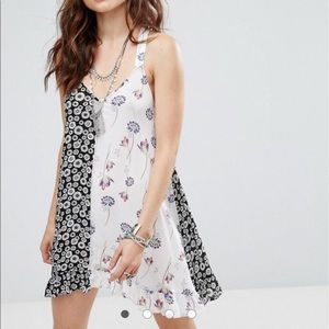 FREE PEOPLE BACK TO BACK MIXED PRINT DRESS XS